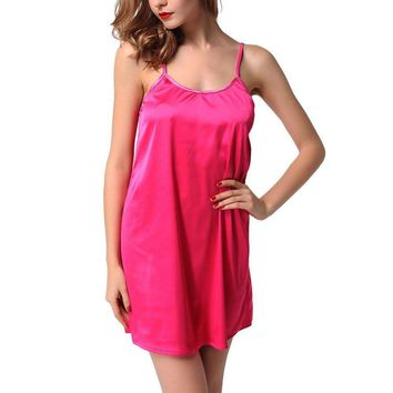 Womens Sexy Satin Nightgown Chemise Slips Night Dress Babydoll Nightie Sleepwear