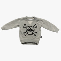 Nununu Big Skull Pullover in Grey - NU0629