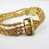Art Deco Multi Chain Gold Filled Buckle Bracelet, Signed 1/20th 12k GF CA for Carl Art Jewelry, Vintage 1920s 1930s Goldfilled Gift for Her