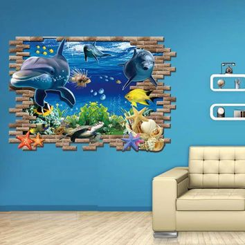 Super Deal  New Sea Whale Fish 3D Wall Stickers For Kids Room Removable Decoration DIY PVC Sticker  Decals HYM02