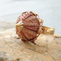 Sea Urchin Collection Vintage Pinkish Ring by StaroftheEast