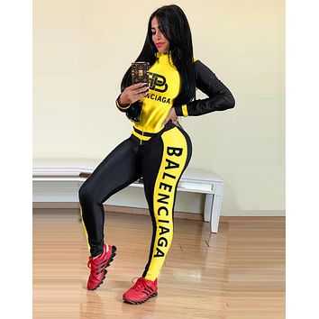 BALENCIAGA Fashion Women Long Sleeve High Collar Top Pants Set Two-Piece Sportswear Yellow