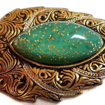 "Damascene Leaf Brooch Signed Spain Green Confetti Cab Stone Gold Metal 2 1/4"" Vintage"