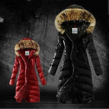 Winter Down Jackets 2014 High Quality Brand Women Warm Slim Large Fur Collar Goose Down Parkas Black Lady Long Down Coats = 1931544644