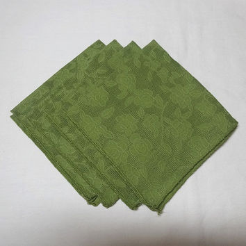 Set of 4 Vintage 1970s Jacquard Lunch Napkins in Olive Green, 12 In. Square, Poly Cotton Blend, Bound Edges, Vintage Linens, Home Fall Decor