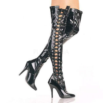 Seduce 3050 Black Patent Thigh High Boot