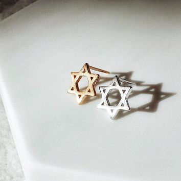 Geometric 6-Point Hexagram Star David Sterling Silver Matte Finish Texture Stud Earrings