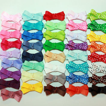 20 Baby Hair Bows - Set of 20 / Toddler Hair Bows / Baby Hair Clips / Newborn Hair Bows with no Slip Grip - Choose Your Colors