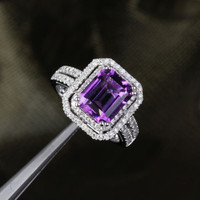 Emerald Cut Amethyst Engagement Ring Pave Diamond Wedding 14k White Gold 8x10mm Double Halo