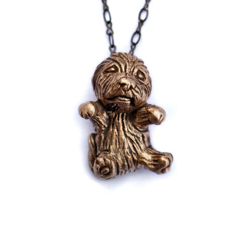 tiny hairy puppy dog necklace mini poodle, maltipoo, golden doodle, bichon shih tzu