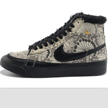 NIKE Women Men Running Sport Casual Shoes Sneakers high tops Plush shoes floral Black