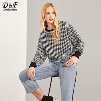 Dotfashion Black And White Houndstooth Print Elastic Cuff Tee Women Casual Spring Autumn Long Sleeve Top Clothing Preppy T-Shirt