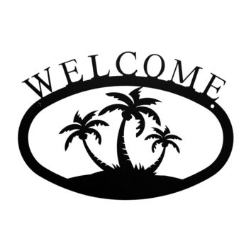 Wrought Iron Small Palm Trees Welcome Home Sign Small