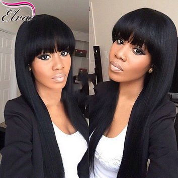 Brazilian Hair with Swiss Lace Front Human Hair: with bangs bleached knots