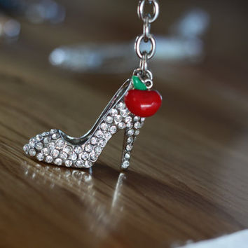 Cinderella Swarovski Crystals Slipper with poisons red apple key chain High Heel key chain disney jewelry