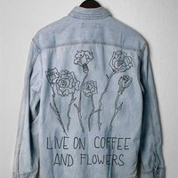 LIVE ON COFFEE & FLOWERS Vintage Denim Jacket/Shirt