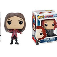 Funko POP Marvel Captain America Civil War: Scarlet Witch and Black Widow Toy Action Figure - 2 Piece BUNDLE