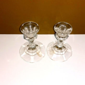 Glass candle holders Set of candle holders Home decor Vintage candle holders