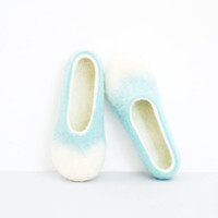 Mint slippers felted slippers wool shoes pastel
