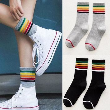 DCCKRQ5 Fashion Women Stripes Socks Ladies Girls Casual Rainbow Cotton Warm Soft Socks