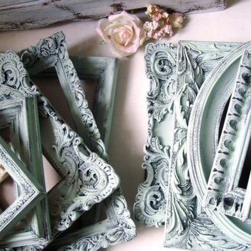 Mint Green Vintage Frames, Shabby Chic Distressed Green Ornate Frames, French Cottage Green Frames, Cottage Chic, Ornate Picture Frames