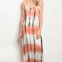PEACH TIE DYE DRESS