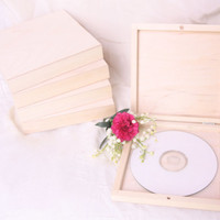 set of 5 double CD/DVD wooden unfinished box, square lid, eco, unpainted plain wood decoupage, CD case, keepsake wedding dvd box, wooden box