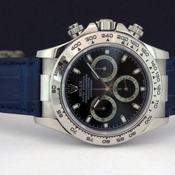 Rolex Daytona White Gold Black Dial Blue Strap 116519 Rehaut - Watch Chest