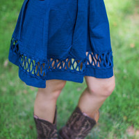 Kiss And Run Skirt in Navy