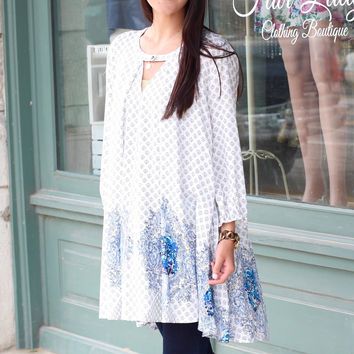 Shades of Blue Printed Tunic {White Mix}
