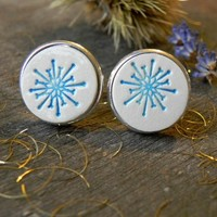 Snowflakes Cuff Links Holiday Cufflinks Blue Unisex Porcelain Cuff Links Christmas gift for him gift for her
