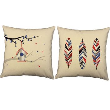 Red White and Blue Feather Throw Pillows