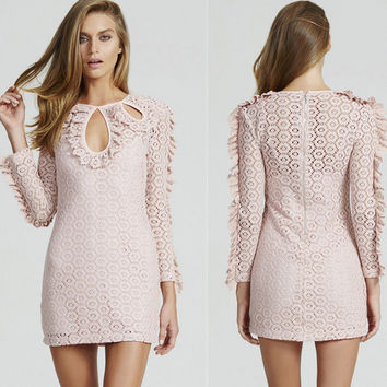 Slim Lace Round-neck Hollow Out Long Sleeve One Piece Dress [4918833988]