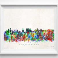 Novosibirsk Skyline Print, Russia Print, Novosibirsk Poster, Cityscape, Watercolor Painting, Home Decor, Wall Art, Christmas Gift