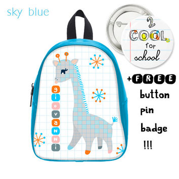 Personalized kid's backpack + FREE pin button - giraffe schoolbag - customized cute daypack for school children in blue and salmon color