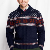 Men's Lambswool Fair Isle Shawl Collar Sweater from Lands' End