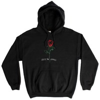 Enjoy the Silence Rose, black embroidered hoodie by Altru Apparel