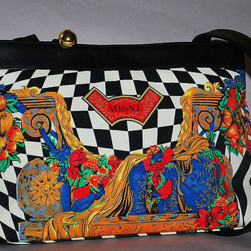 Authentic Gianni Versace Vintage Checkered Multicolor Cruise Bag