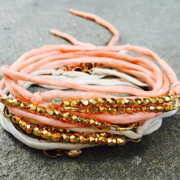 Triple Salmon Coral Pink Gold Beaded Boho Wrap Bracelet - Silk Cord - Dainty 24k Gold - Stackable
