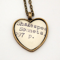 Library book jewelry, Shakespeare necklace, Shakespeare sonnets jewelry, poetry jewelry, teacher gifts, book jewelry, gifts for librarians