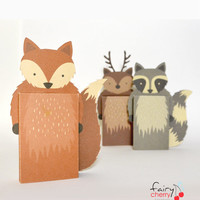 Woodland animals Emotibox - Funny paper box, seasonal greeting card, birthday card, emotion card, fox card, raccoon card, deer card