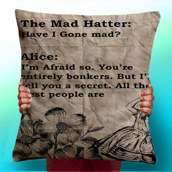 Alice In Wonderland Vintage Mad Hatter - Cushion / Pillow Cover / Panel / Fabric