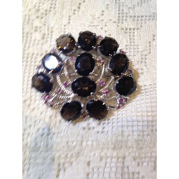 Vintage Handmade Smoky Topaz and Genuine Ruby 925 Sterling Silver Rhodium Brooch