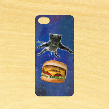 Cat Jumping on a Burger in Space iPhone 4/4S 5/5C 6/6+ and Samsung Galaxy S3/S4/S5 Phone Case