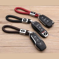 Car Key Ring For Cadillac For Lexus FOR Toyota FOR Ford Business Keychain Braided Genuine Leather Zinc Alloy Key Chain