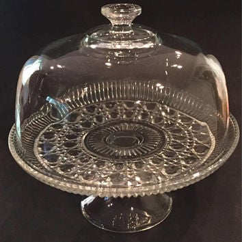 Windsor Cane and Button Glass Cake Stand with Dome Lid , Indiana Glass, Glass Punch Bowl