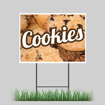 """18""""x24"""" Cookies Yard Sign Hot Fresh Baked Chocolate Chip Almonds Concession Stand Sign"""