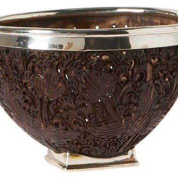 "4"" Coconut Shell & Sterling-Silver Bowl, Decorative Bowls & Centerpieces"