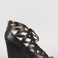 Bamboo Cut Out Lace Up Open Toe Wedge