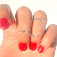 Chevron Double Chain Ring  - Double Chain Ring - Chevron Above Knuckle  by Tiny Box